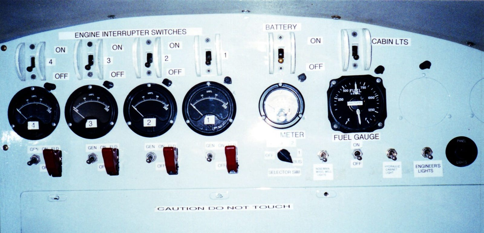 Engine instruments and switches.
