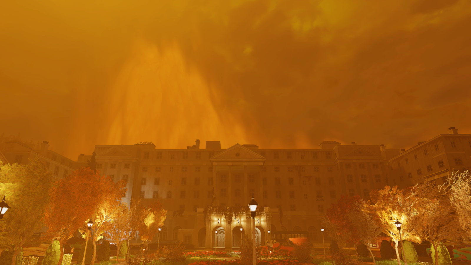 The Whitespring Resort during a nuclear strike event.