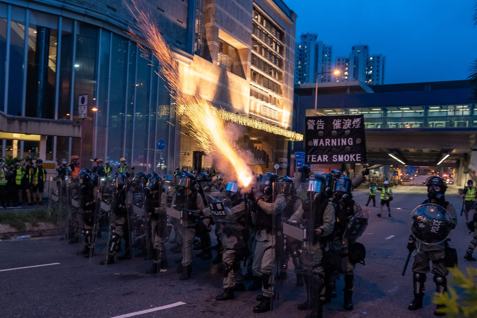 Riot police fire tear gas during a clearing at a demonstration in Tai Wan on August 10, 2019 in Hong Kong, China.
