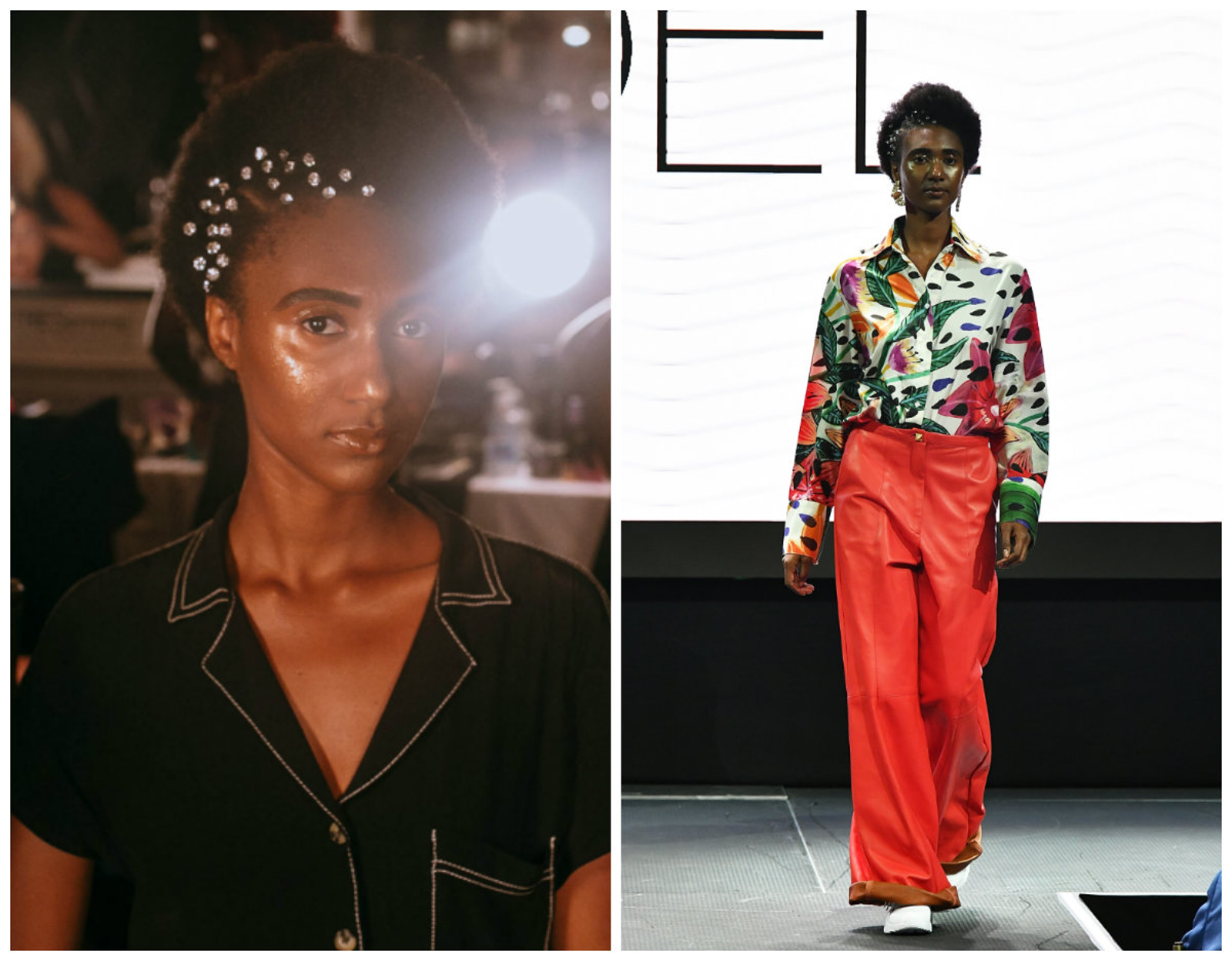 (L-R) Before and after: A model pre-show; the same model walks the runway at Fe Noel's fashion show during New York Fashion Week on September 4, 2018 in New York City.
