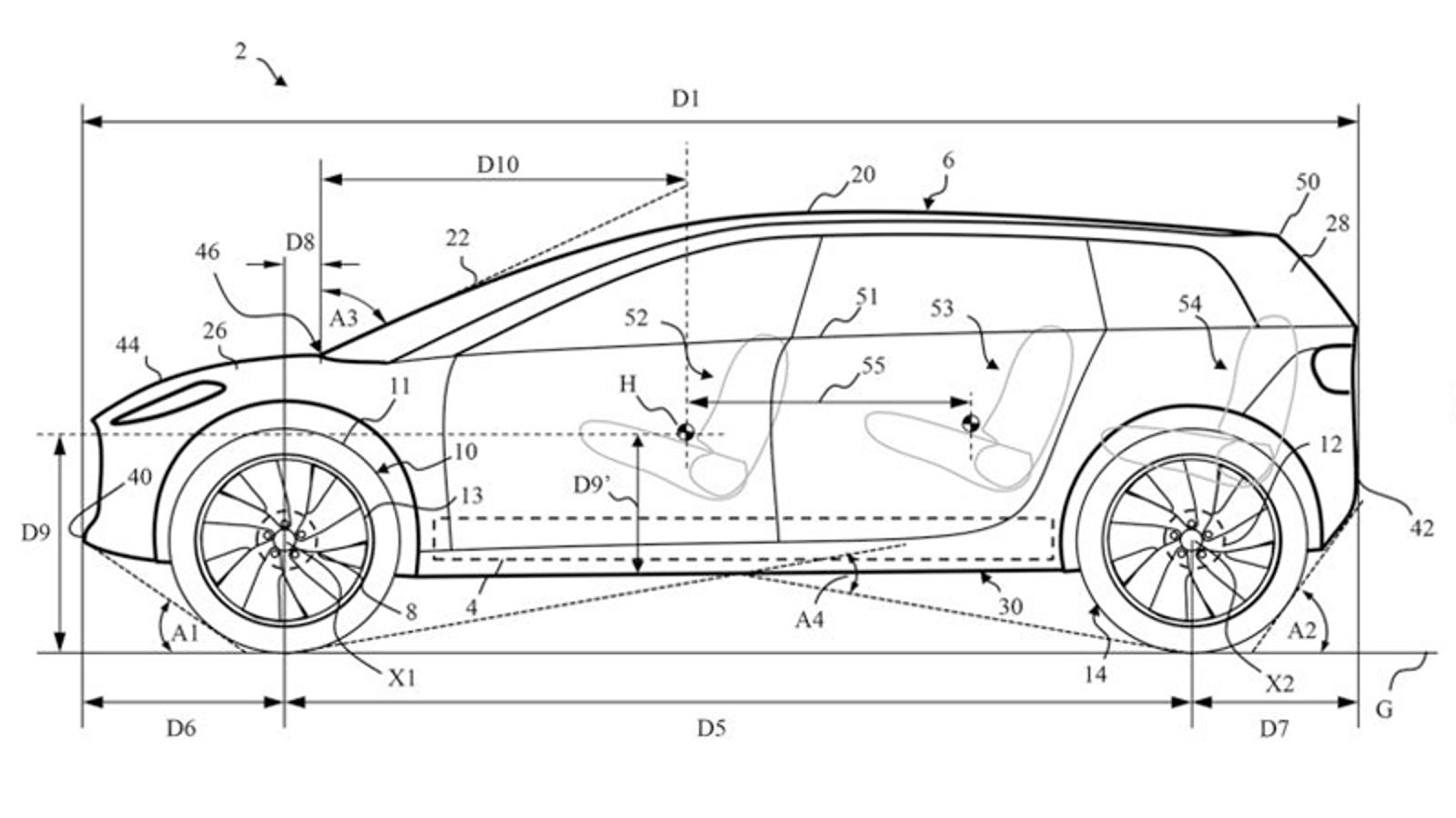Illustration for article titled This Patent Sketch of the Dyson Car Has Three Rows and a Lot of Ride Height