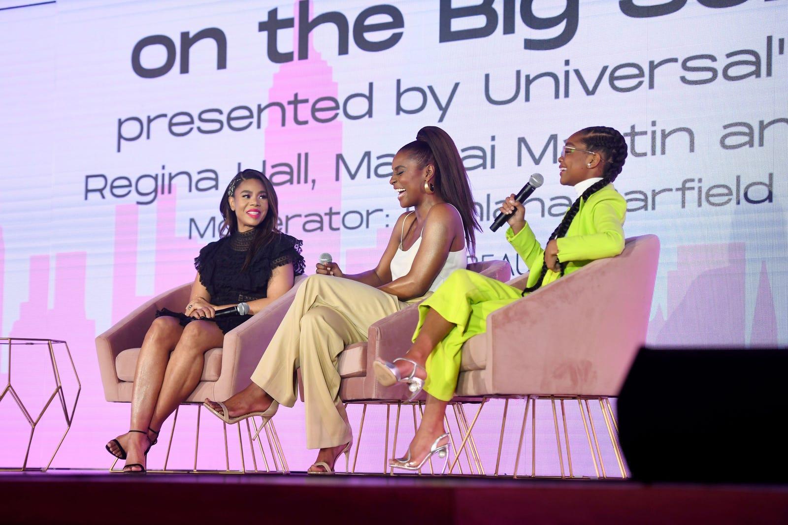 Regina Hall, Issa Rae and Marsai Martin on their panel at Beautycon 2019.
