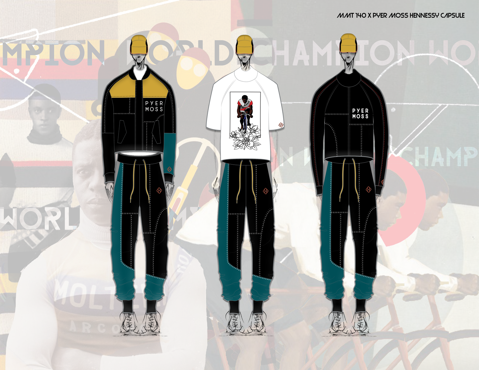 Illustration for article titled The Great Race: The Hennessy x Pyer Moss Capsule Collection Honors a Black Champion Cyclist