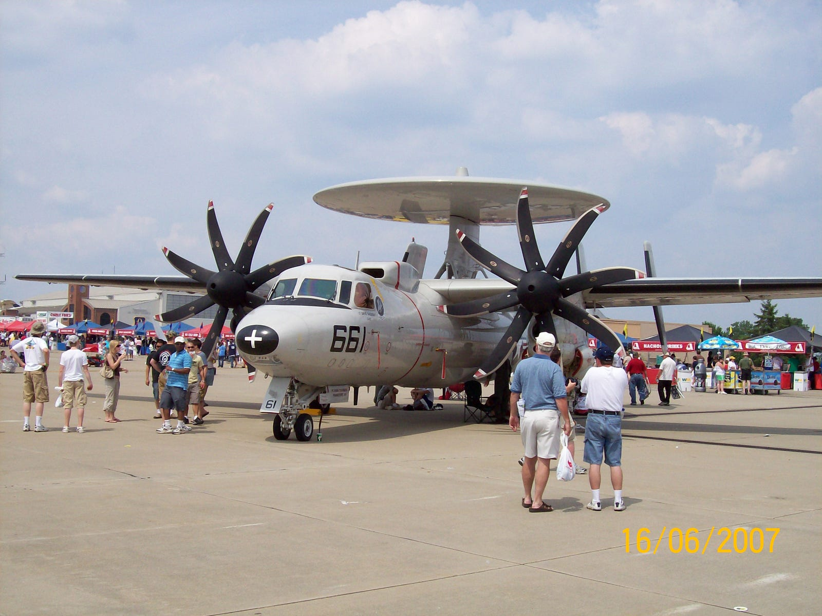 An upgraded E-2C with eight-bladed props