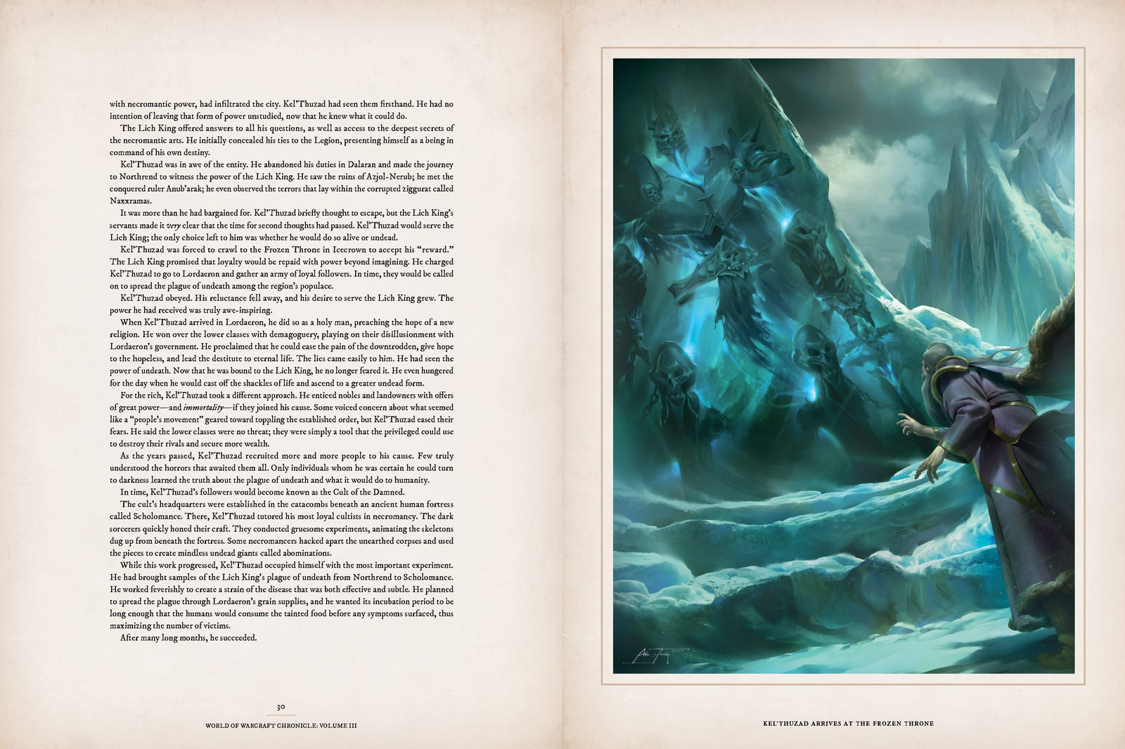 Pages 30 and 31, covering Kel'Thuzad falling under the thrall of the Lich King, like a dope.