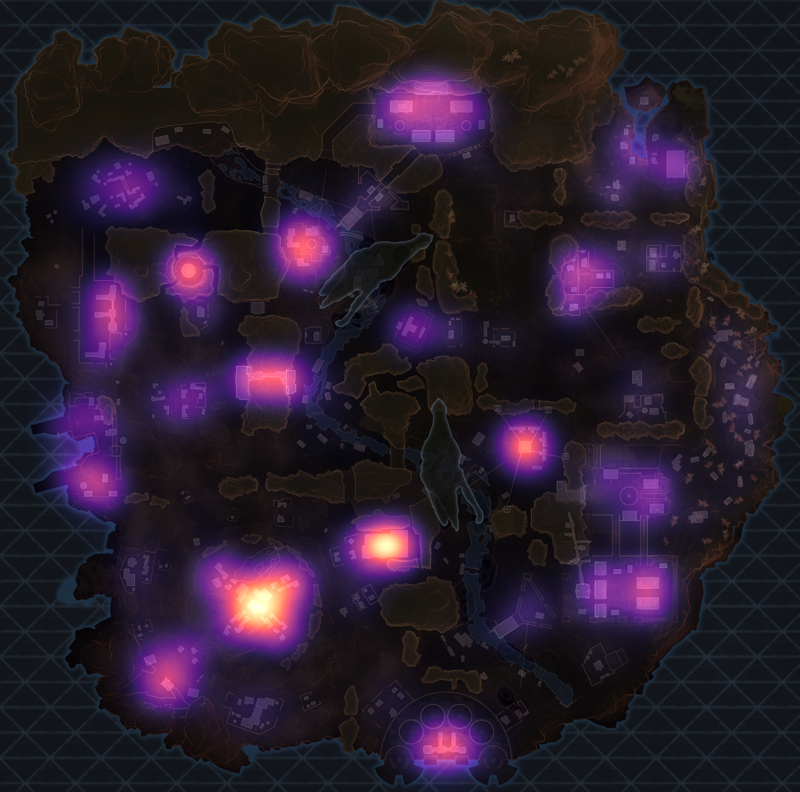 The heatmap for Season 2 unranked players. Note the hot spots at the south of the map.