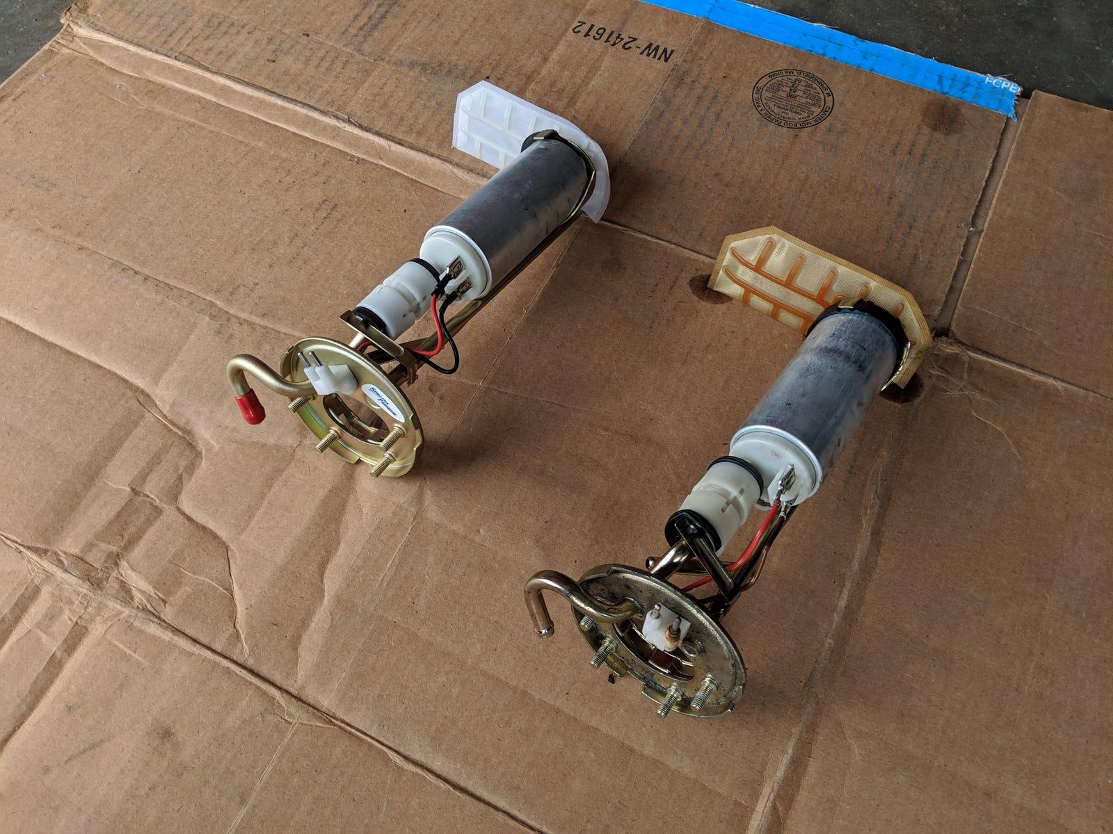New vs. old fuel pumps.