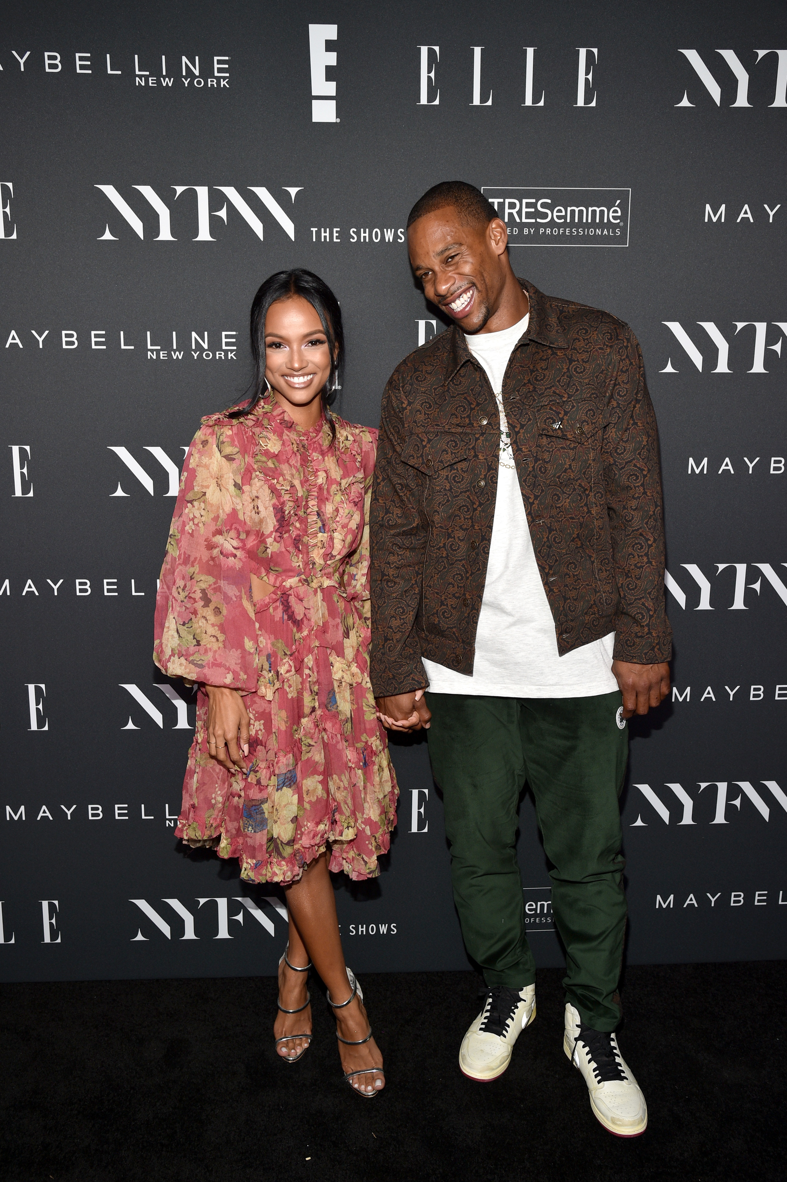 Karrueche Tran and Victor Cruz attend as E!, ELLE & IMG celebrate the Kick-Off To NYFW: The Shows at The Pool on September 5, 2018 in New York City.