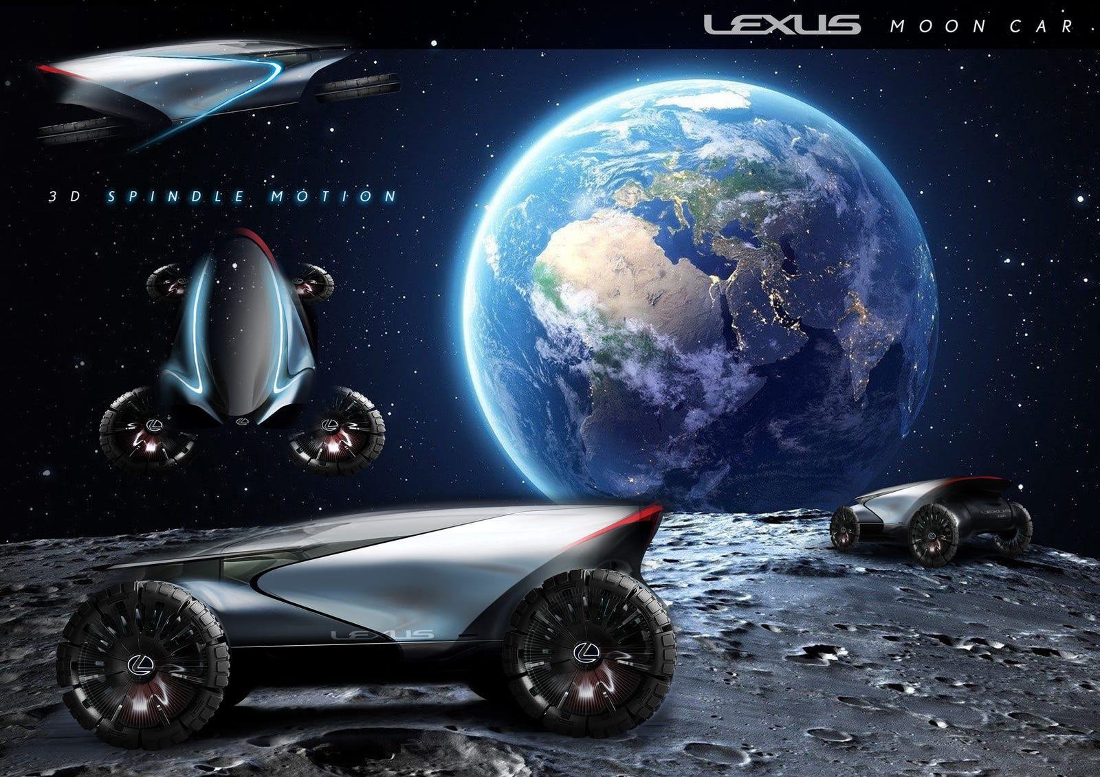 "The Lexus ""Lunar Cruiser"" is a multipurpose vehicle for land and sky use on the moon. It has large tires that provide comfortable movement even on rough lunar conditions and can turn 90 degrees to fly like a drone. These allow the driver to explore the lunar land and sky freely. The organically shaped cabin has a unique body graphic in the shape of a ""3D spindle motion,"" providing an open vision and comfortable interior space while having an iconic appearance."