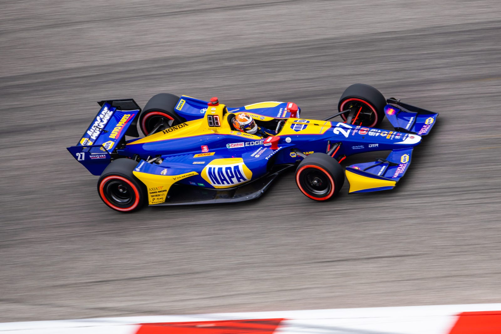 Alexander Rossi (27) came in second during qualifying yet still had a respectable time with only 15/100th of a second behind Power.