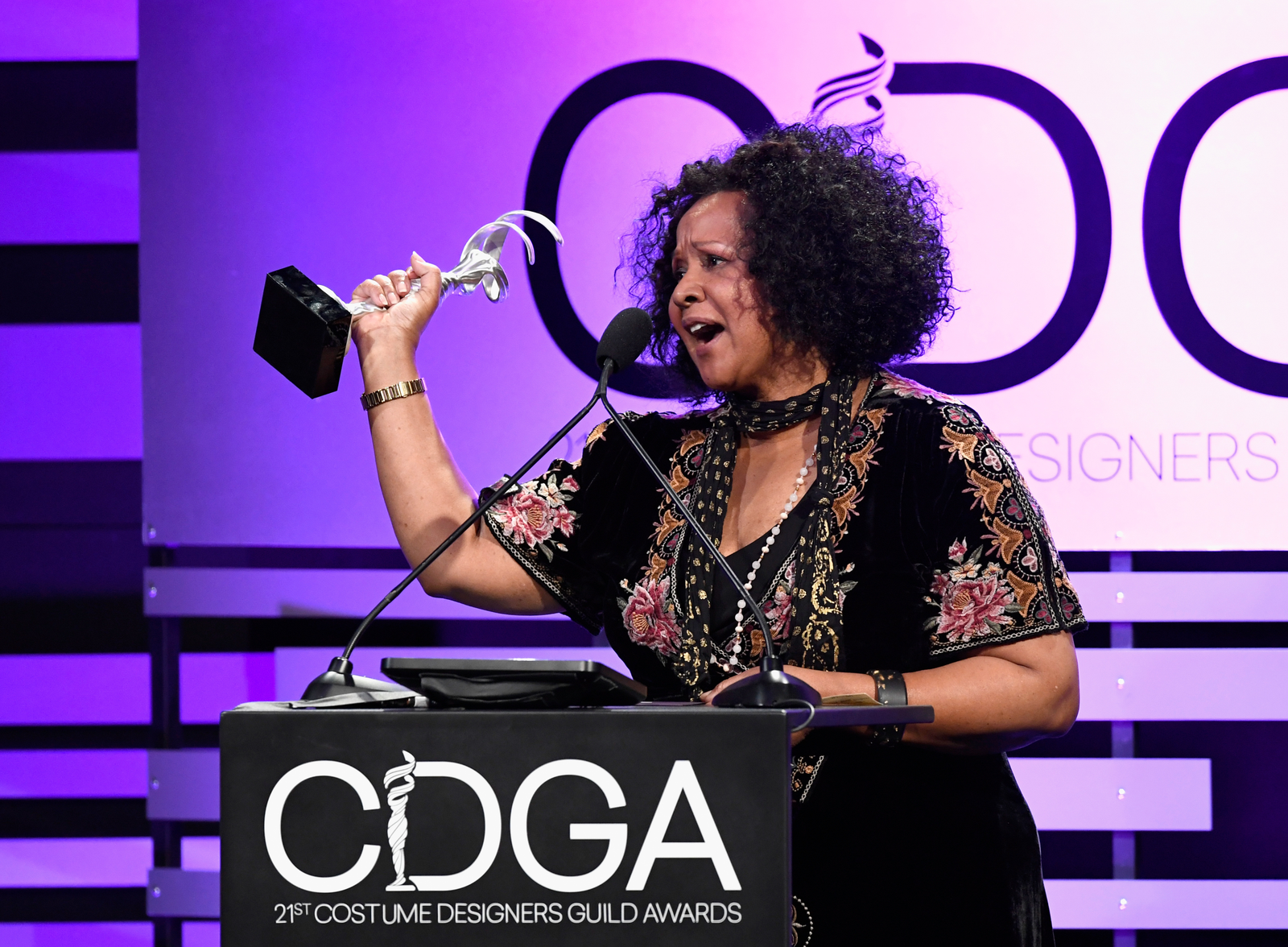 Sharen Davis accepts the Excellence in Sci-Fi / Fantasy Television award for 'Westworld' onstage during The 21st CDGA (Costume Designers Guild Awards) at The Beverly Hilton Hotel on February 19, 2019 in Beverly Hills, California.