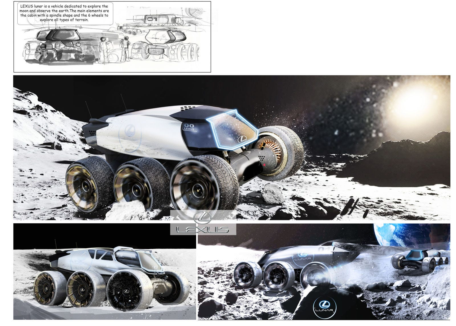 Lexus Lunar. Es un vehículo de transporte masivo diseñado para explorar y descubrir la luna de forma segura. El vehículo está dividido en dos partes: la parte inferior consiste en una plataforma con seis ruedas y la parte superior contiene la sala de estar. Los dos componentes del vehículo también se pueden dividir, separándose la parte superior para establecer la base de una colonia lunar.  Imagen: Yung Presciutti (Lexus)