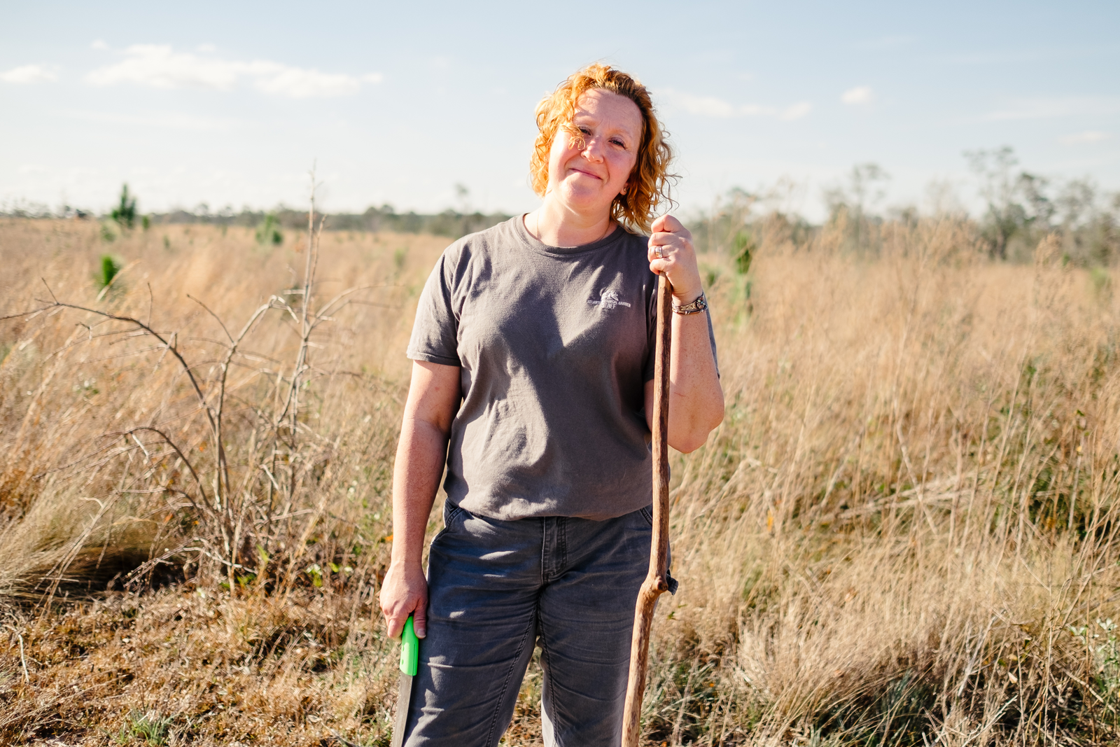 Emily Coffey in the uplands of North Florida after a day of bushwhacking in the steephead ravines.