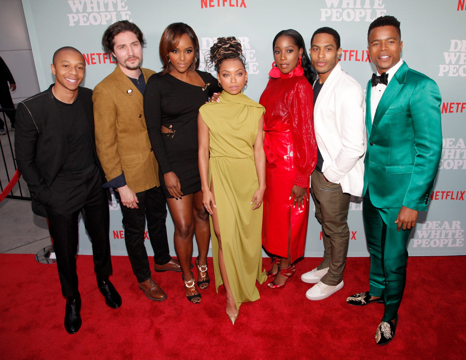 College reunion: DeRon Horton, John Patrick Amedori, Antoinette Robertson, Logan Browning, Ashley Blaine Featherson, Brandon P Bell and Marque Richardson