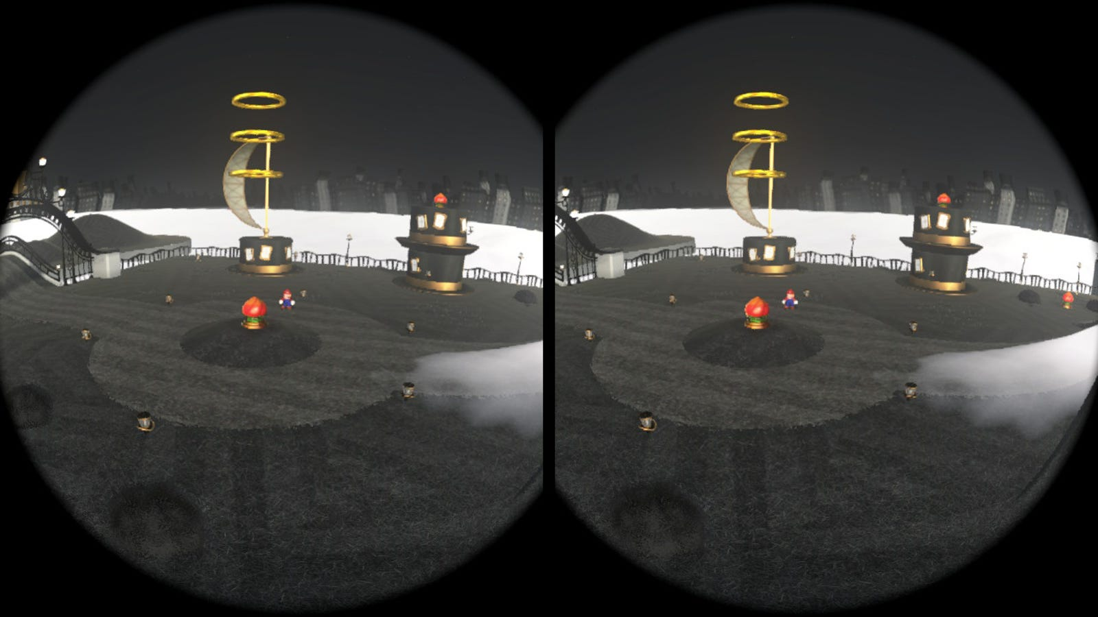 Super Mario Odyssey takes a different approach to VR, placing you in the middle of a floating island with Mario free to roam.