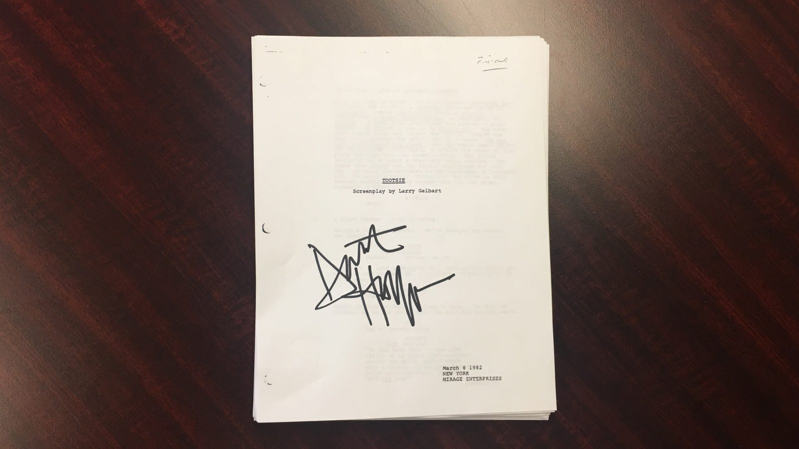 Original Script Signed By Dustin Hoffman (Verified): If it had also included autographs from Sydney Pollack or Jessica Lange, this would've been a steal at $300. But with Hoffman alone, there are better deals out there.