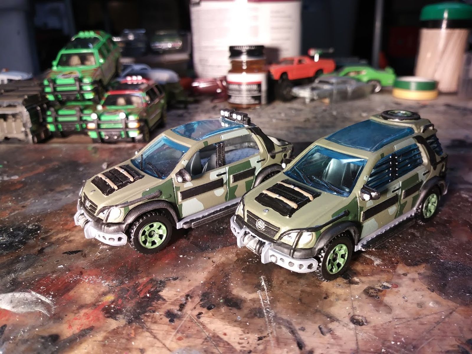 Two Mercedes from Jurassic Park 2, The Lost Kingdom. One was just detailed, and the other was turned into the pickup.