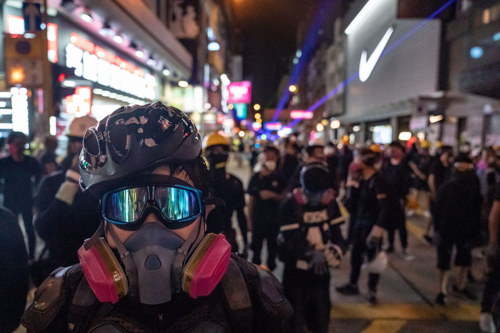 Protesters occupy a street during a standoff with police at a demonstration in Tai Wan on August 10, 2019 in Hong Kong, China.