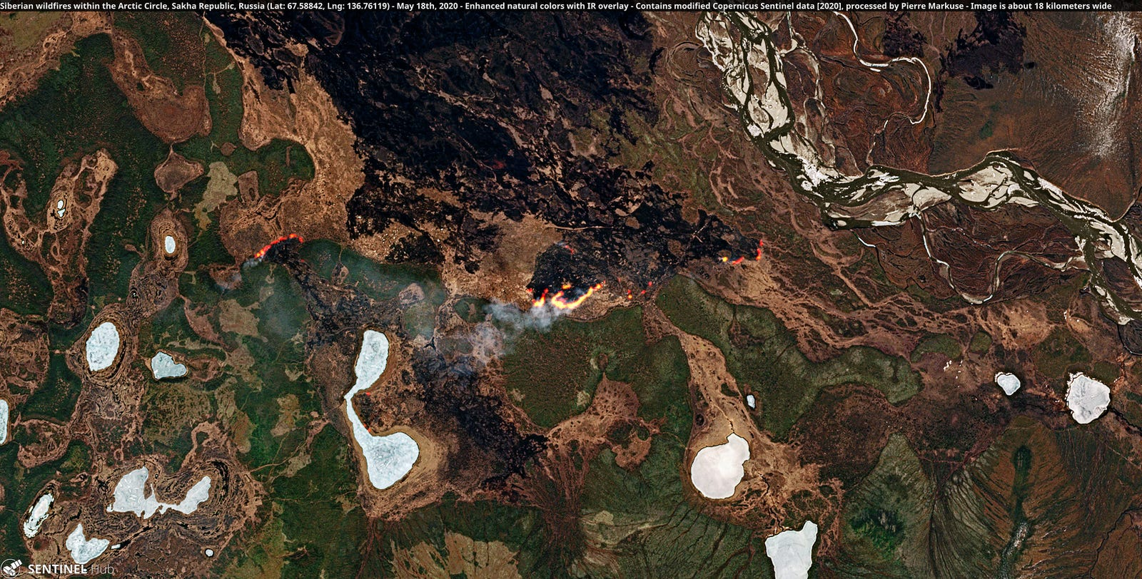 Siberian wildfires within the Arctic Circle