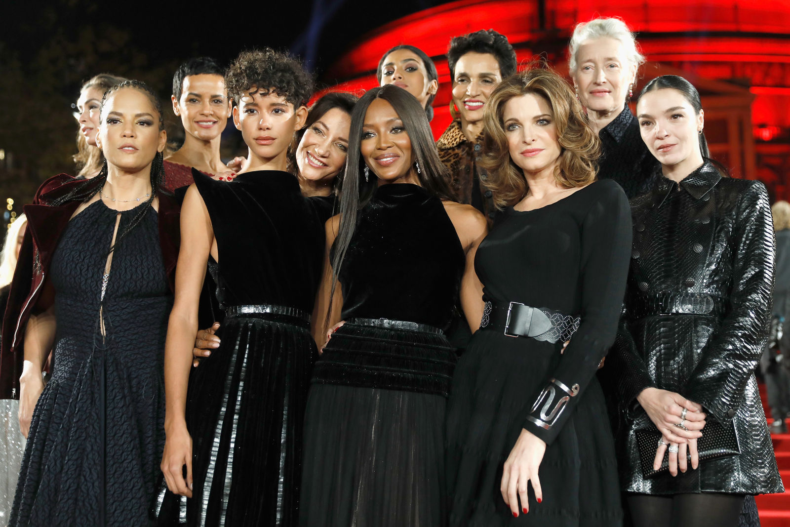 Collective slay: (rear, left to right) Linda Spierings, Nadège du Bospertus, Imaan Hammam, Farida Khelfa, Marie-Sophie Wilson, (front, left to right) The Glow Up's Veronica Webb, Dilone, Marpessa Hennink, Naomi Campbell, Stephanie Seymour and Mariacarla Boscono attend the British Fashion Awards 2017 at Royal Albert Hall on Dec. 4, 2017, in London. (Tristan Fewings/BFC/Getty Images for BFC)