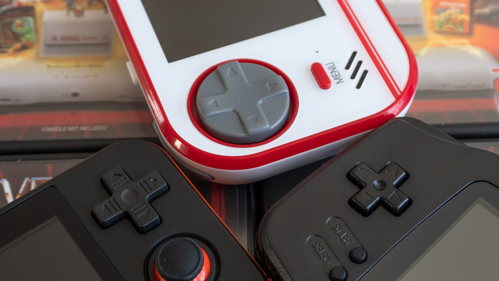 The circular directional pad on the Evercade is reminiscent of Sega's old gamepads and controllers, and it much larger than the D-pad you'll find on the RG350 and GBA.
