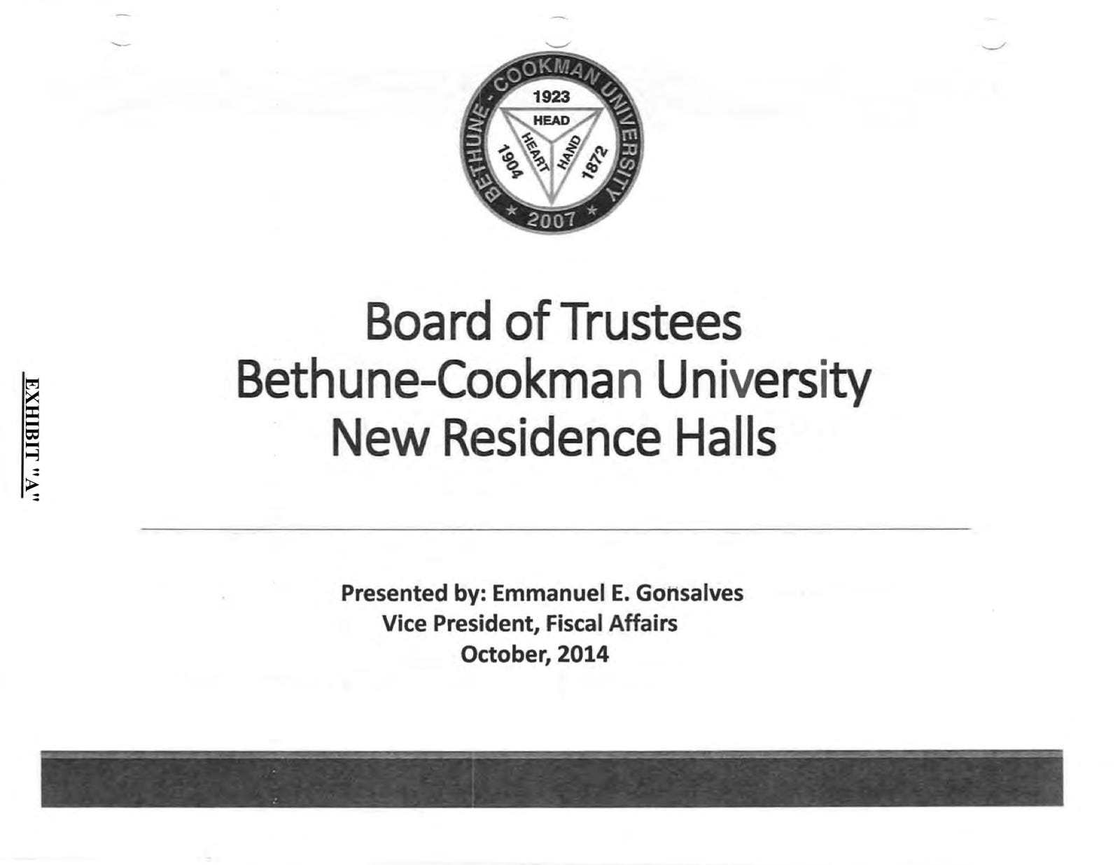 Powerpoint presentation on dorm deal for trustees.