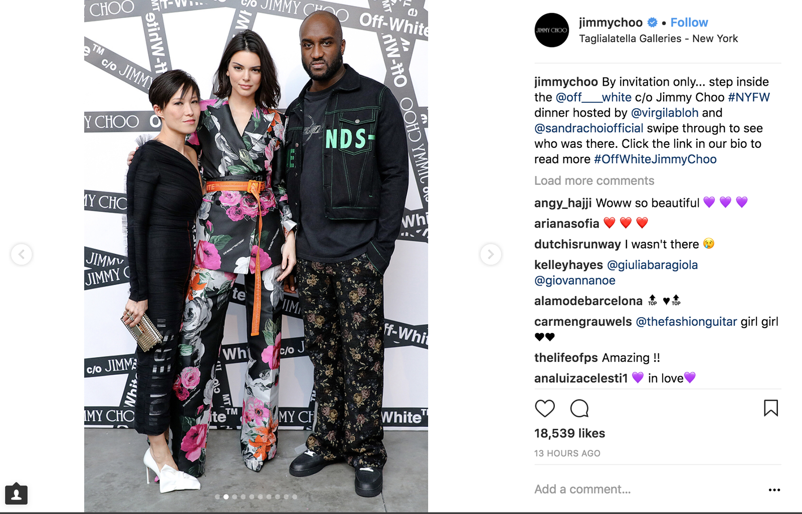 Sandra Choi, Kendall Jenner and Virgil Abloh (Jimmy Choo via Instagram)