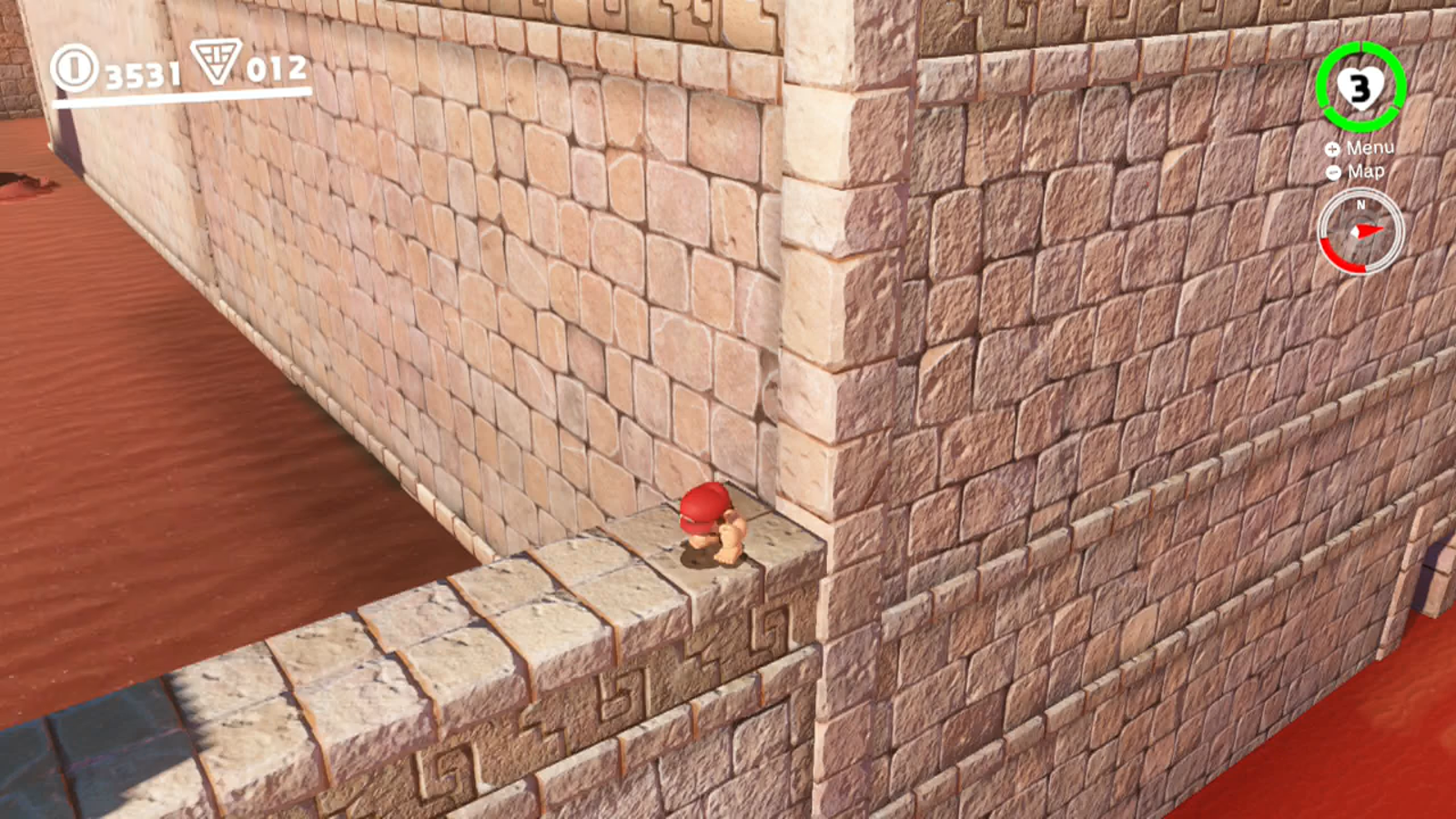 A good way (although not the only way!) to get vertical height is the crouching backflip. Depress the trigger while standing still, then press A, and Mario will leap quite high into the air, with only a little bit of backwards movement. If this ledge were a little lower, this would be enough to get him up there! But it's not.