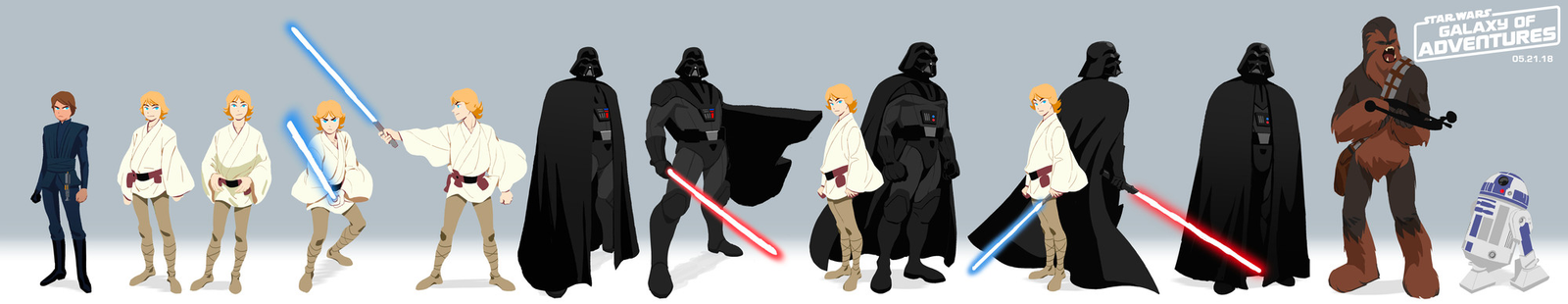Lineup art of Darth Vader, Luke, Chewie, and R2.
