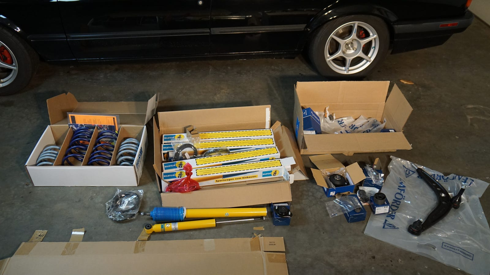The parts needed to refresh the suspension.