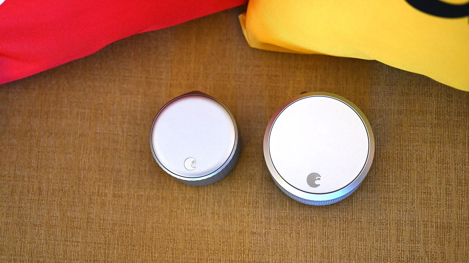 Here's a size comparison between the new Wi-Fi Smart Lock (left) and the August's previous Smart Lock Pro (right).