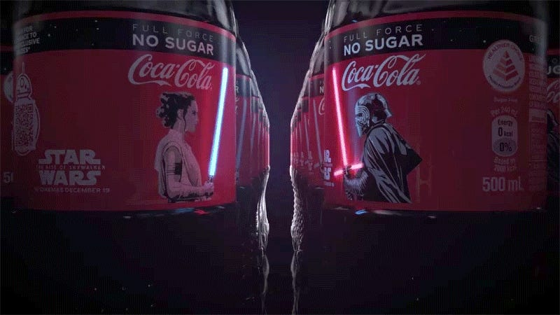 Image result for rey and kylo coca cola