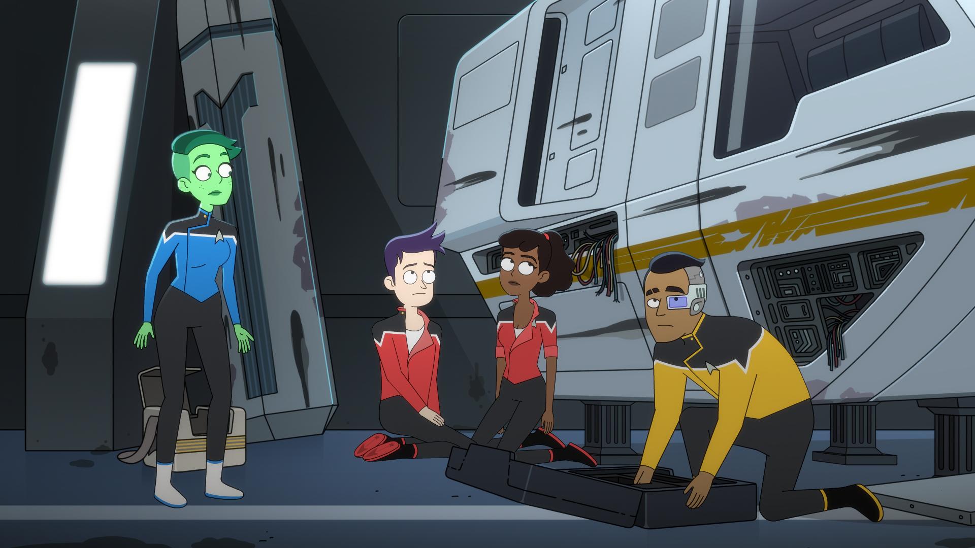 Tendi, Boimler, Mariner,and Rutherford working on the Cerritos shuttle in Star Trek Lower Decks