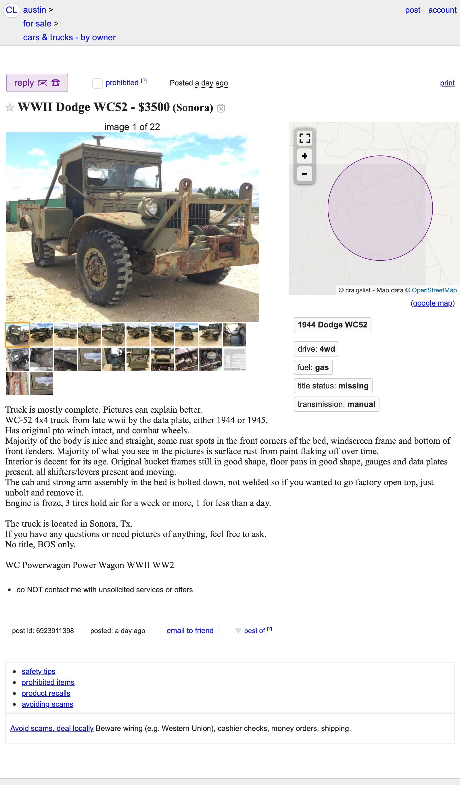 At $3,500, Is This 1944 Dodge WC-52 Military Truck Ready to