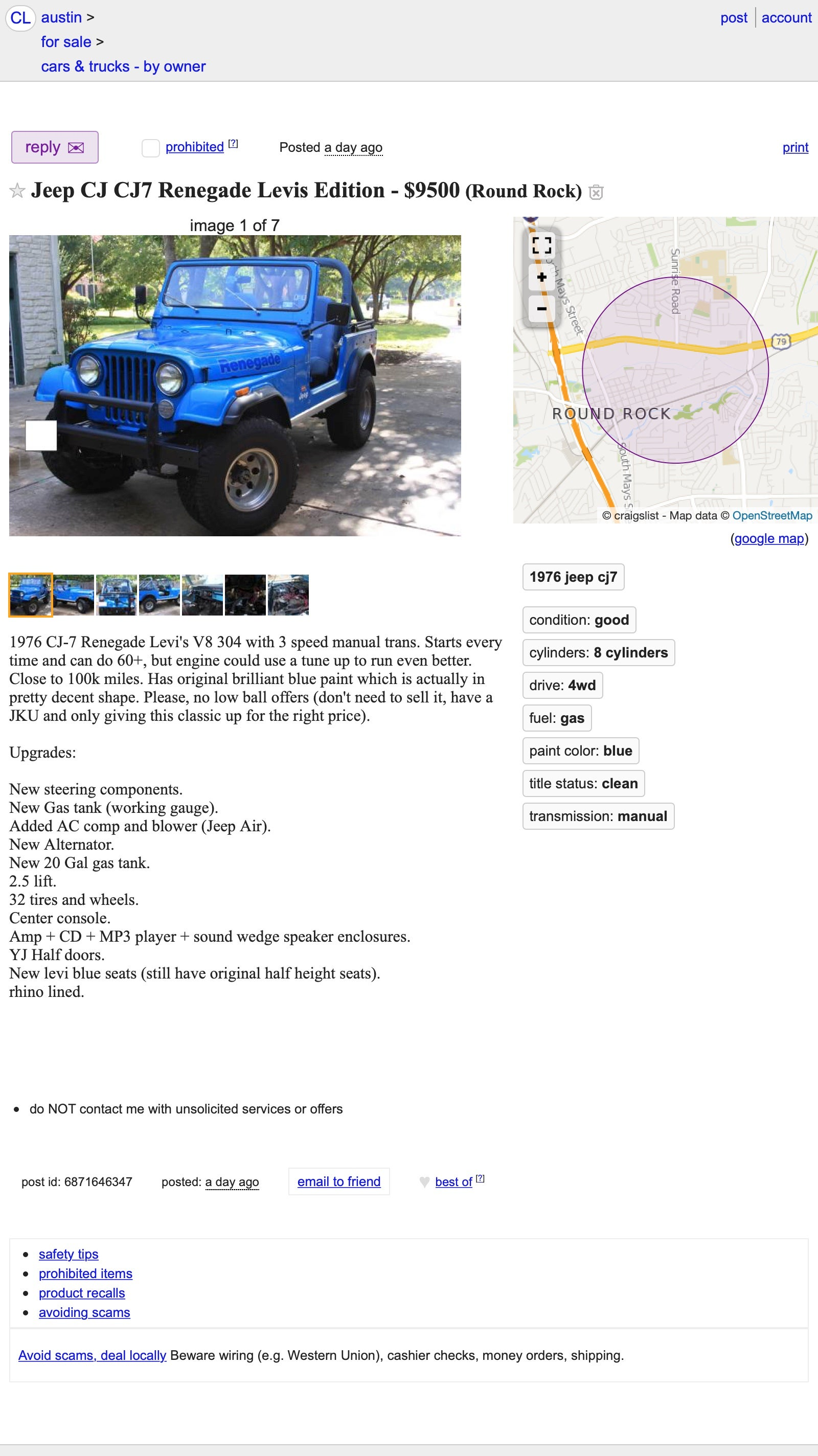 """At $9,500, Could This 1976 Jeep CJ7 """"Levi's Edition"""" Be Your"""
