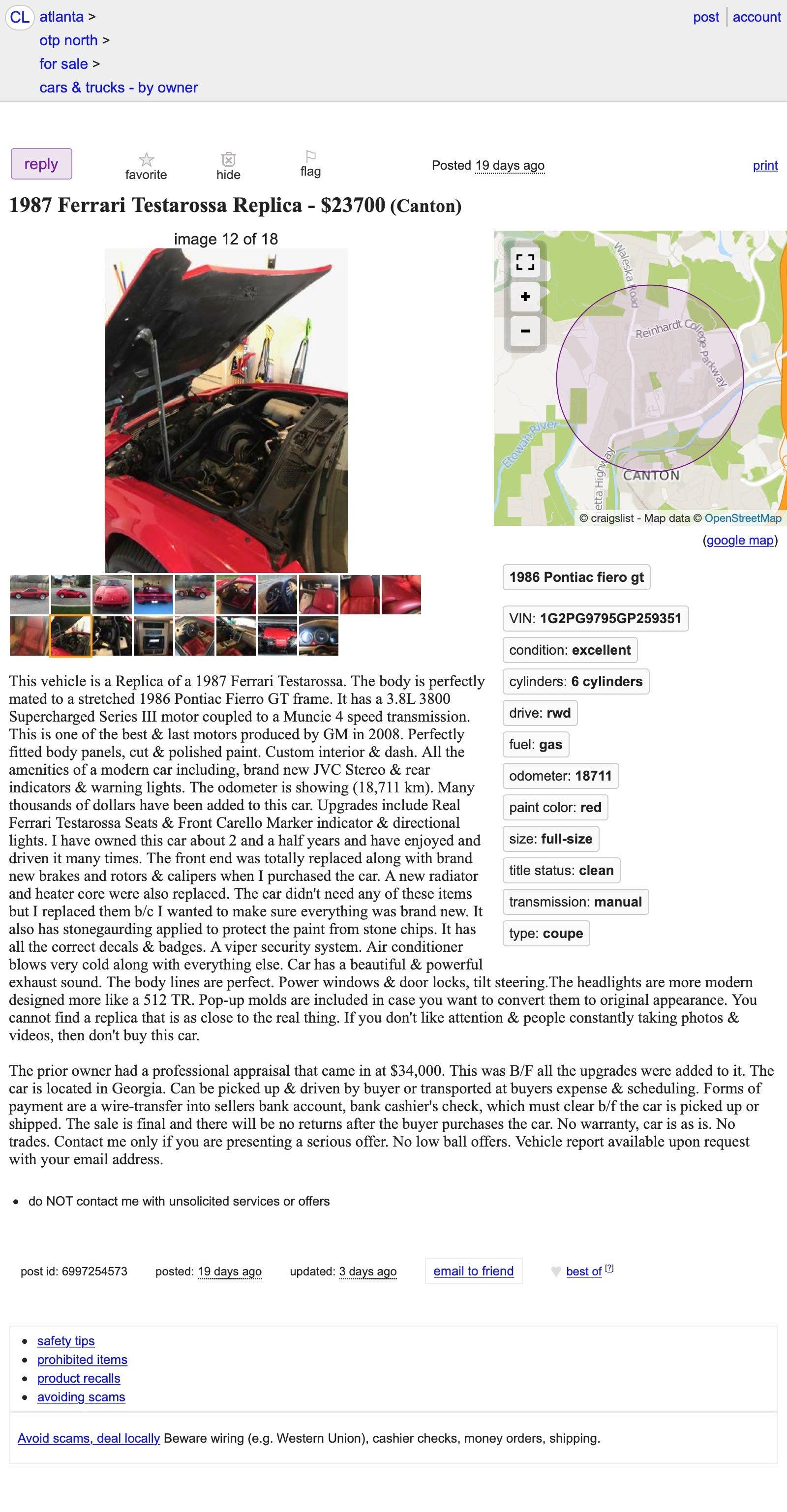 At $23,700, Could This 1987 Ferrari Testarossa Replica Be