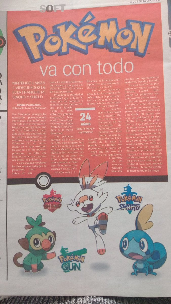 Mexican Newspaper Prints Graphic Of The New Pokemon Games Sword