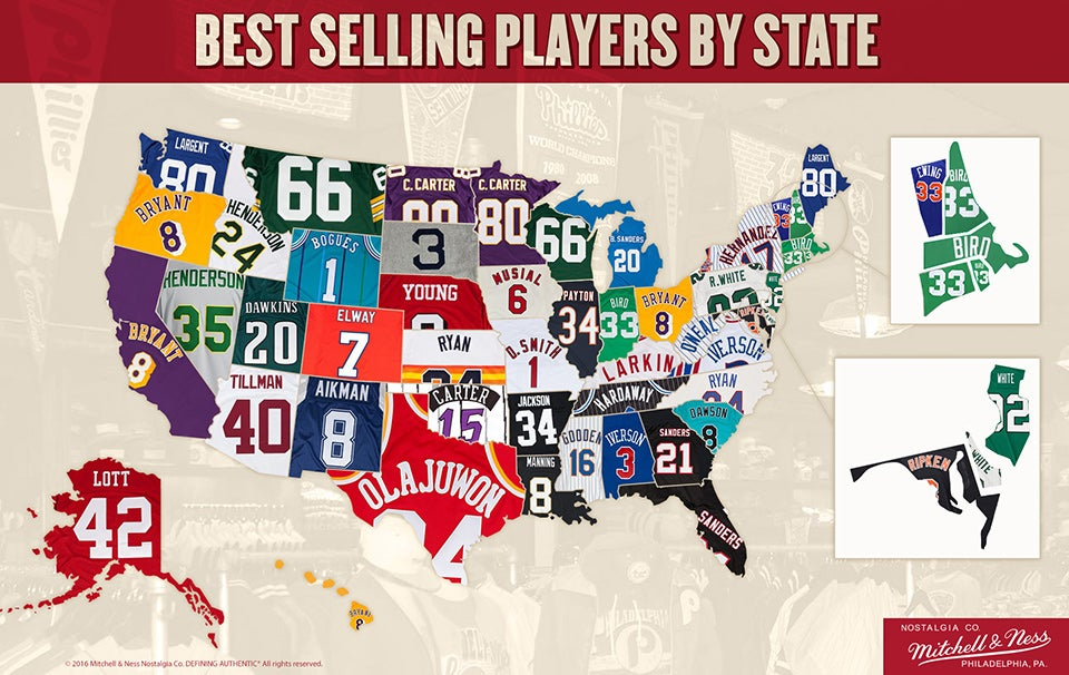 The Best-Selling Throwback Jerseys By State