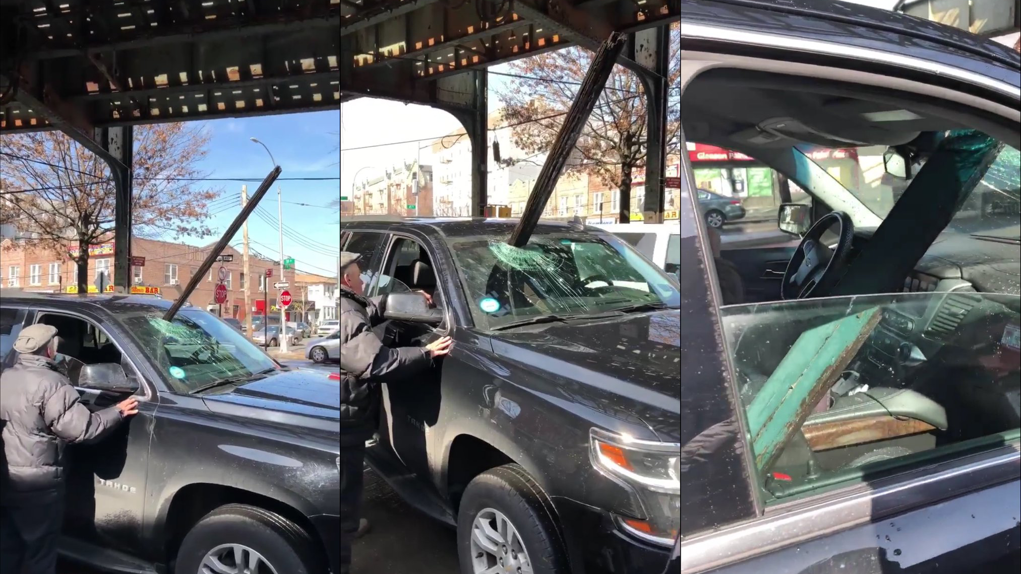 Giant Chunk of Elevated Subway Crashes Through Windshield of Moving Car