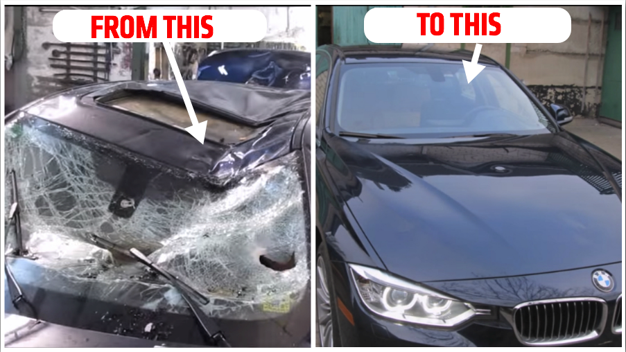 Watch This Guy Transform A Trashed BMW Back To Its Former Glory