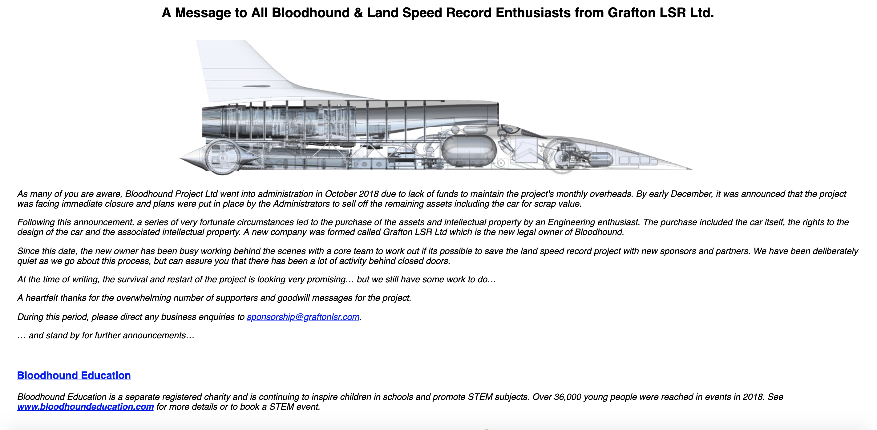 The Bloodhound Supersonic Car Project Is Back On and Going for the