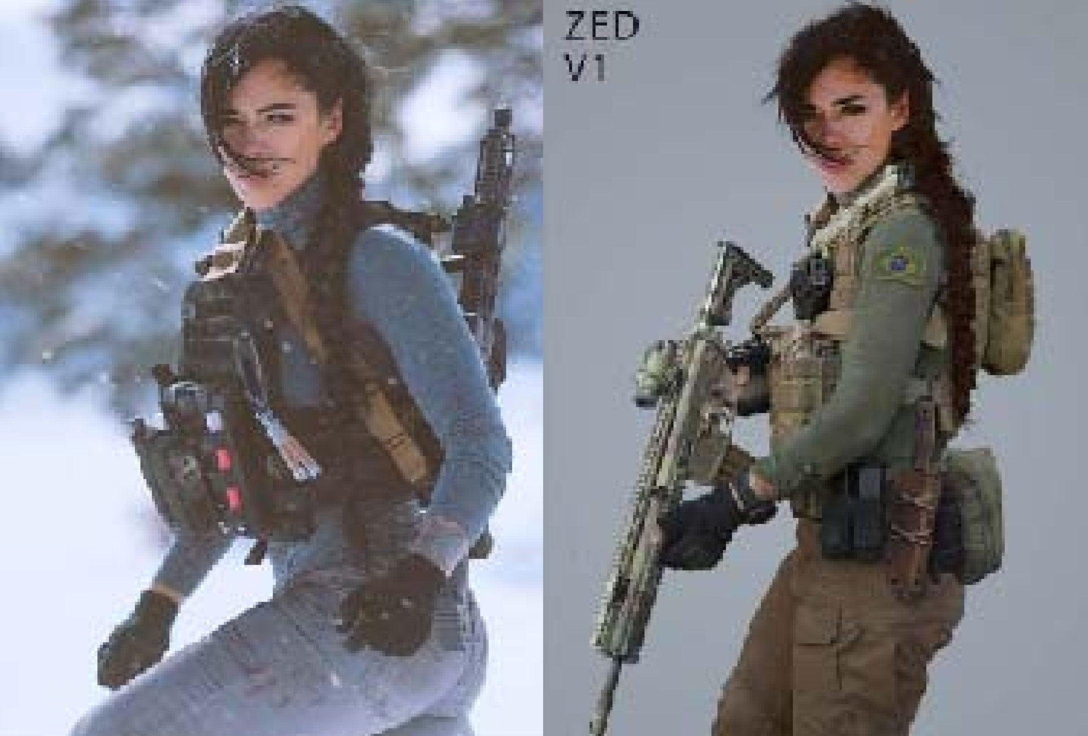 L: uma imagem da sessão de fotos original de Haugen, R: uma foto de 2019 tirada para Call of Duty, apresentando o mesmo ator.