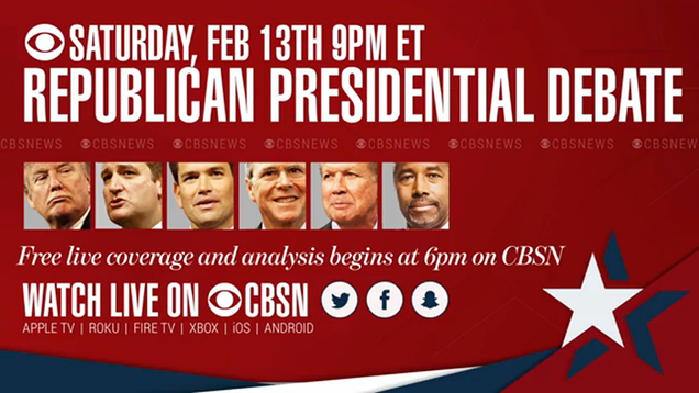 How to Stream Tonight's CBS Republican Debate Online, No Cable Required
