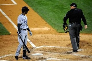 BJ Upton of the Tampa Bay Rays had a few choice words for umpire Fieldin Culbreth.