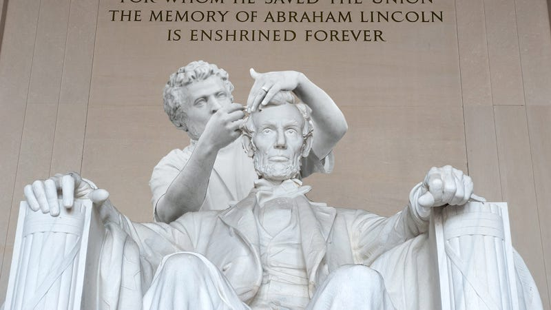 Completing The Tribute: The U.S. Government Has Finally Finished Constructing The 30-Foot Barber That's Cutting Lincoln's Hair In The Lincoln Memorial