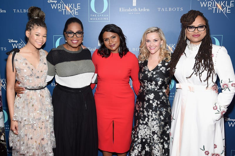 Storm Reid, Oprah Winfrey, Mindy Kaling, Reese Witherspoon and Ava DuVernay at a special screening of A Wrinkle in Time at the Walter Reade Theater in New York City on March 7, 2018