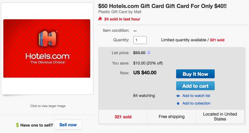 $50 Hotels.com Gift Card, $40