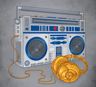 Illustration for article titled R2-DBoombox and C-3Pheadphones