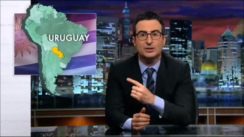 Illustration for article titled John Oliver loves highlighting Americans' poor sense of geography