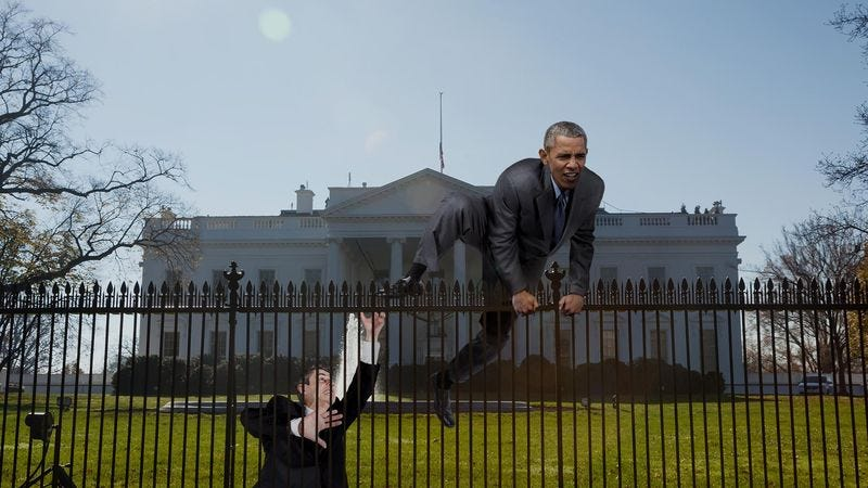 Obama Caught Trying To Jump White House Fence